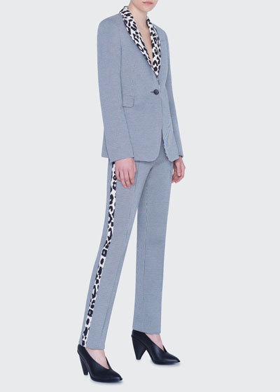 Gingham and Leopard Tuxedo Stripe Pants
