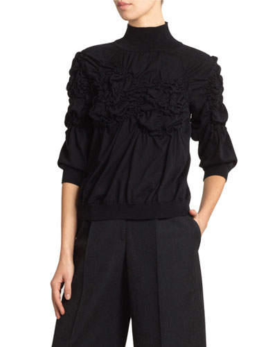 Ruched Flower Turtleneck Sweater