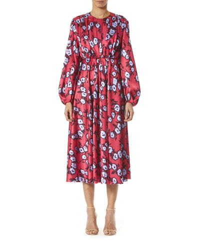 Floral-Print Long-Sleeve Gathered Dress