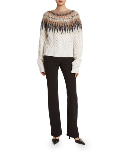 Fairisle Wool-Cashmere High-Neck Sweater
