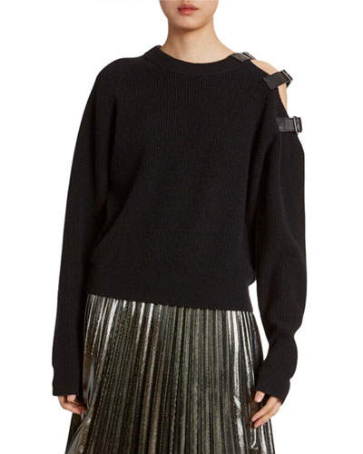 Wool-Cashmere Buckle-Shoulder Sweater