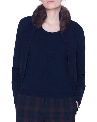 Cashmere Sable Fur-Collar Jacket
