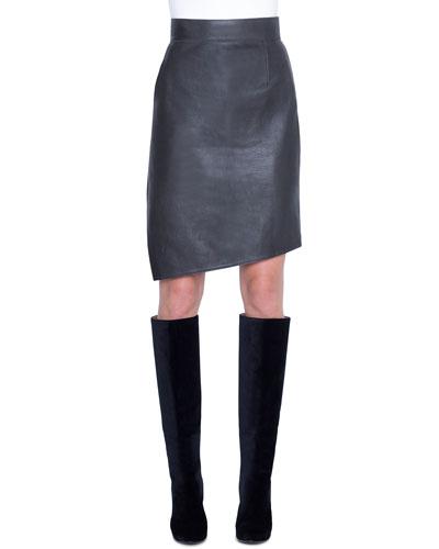 Asymmetric Napa Leather Pencil Skirt
