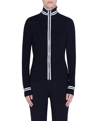 Contrast Striped Wool Zip-Front Cardigan