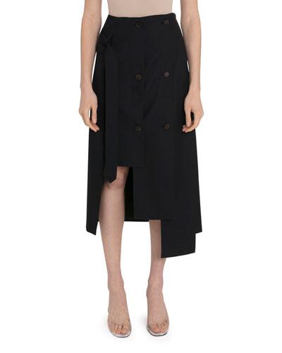 High-Rise Button-Panel Skirt