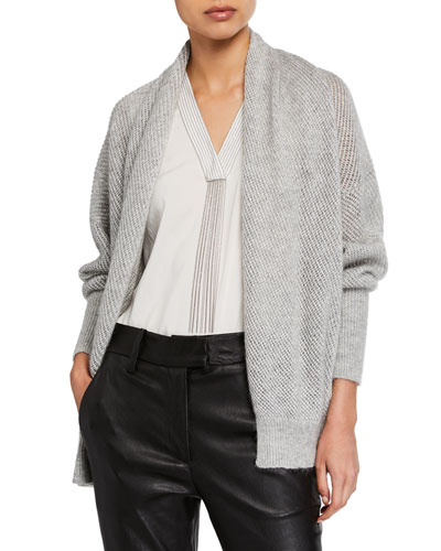 Shimmered Mohair Mesh Cardigan