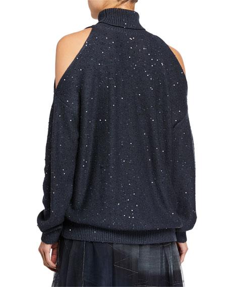 Sequin Cold-Shoulder Cashmere/Silk Turtleneck Sweater