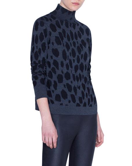 Animal-Dot Print Wool Sweater