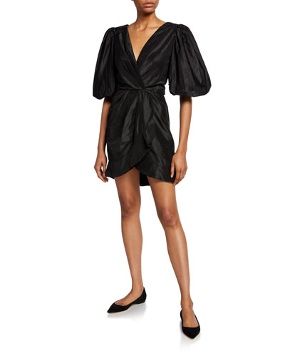 Puff-Sleeve Gathered Taffeta Mini Dress