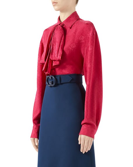 Wild Red G Roses Silk Crepe Shirt