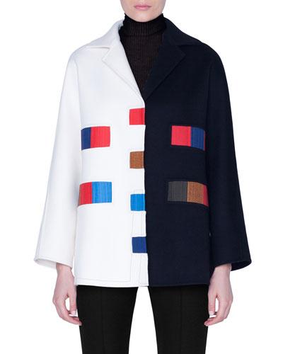 Colorama Cashmere Patchwork Kimono-Sleeve Jacket
