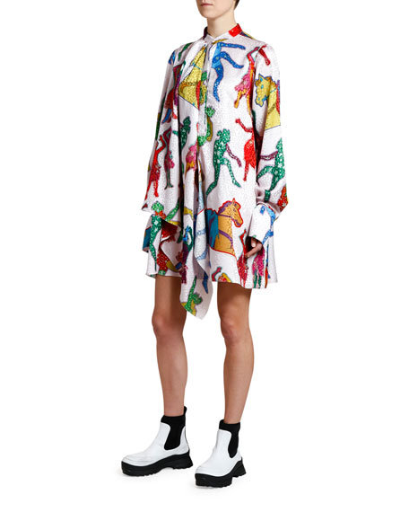 Beatles-Print Scarf-Neck Dress