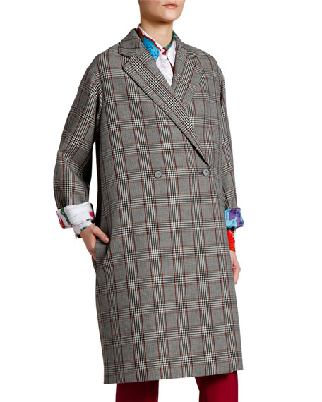 Checked Beatles Lined Oversized Coat