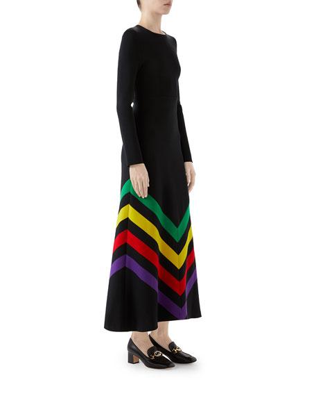 Chevron-Embroidered Silk-Cotton Dress