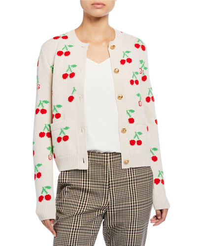 498221524141bd Cherry Jacquard Wool Cardigan Quick Look. Gucci
