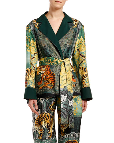 Tiger & Floral Print Robe Top