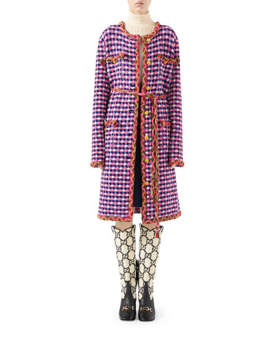 b3f64caa3 Checkered Wool-Knit Braided-Trim Coat Quick Look. Gucci