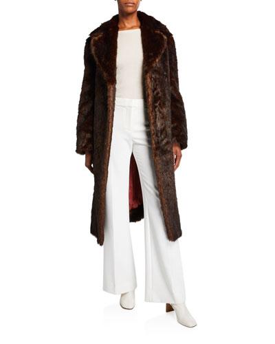 Reversible Faux-Fur & Floral Silk Jacquard Coat