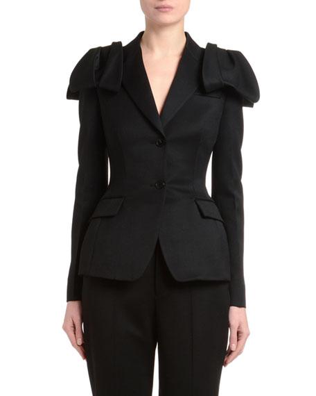 Bow-Shoulder Slim-Fit Blazer
