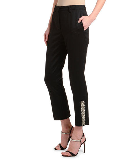 Satin Mosaic Straight-Leg Pants with Crystal Hem