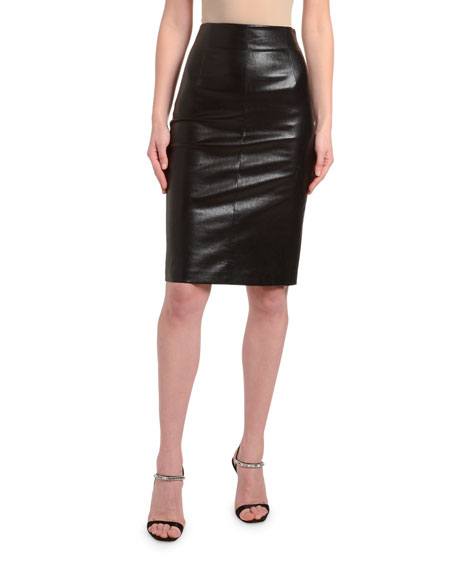 59758dbd9a Prada Leather Pencil Skirt