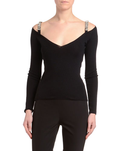 Cashmere-Silk Jewel-Strapped Cold Shoulder Sweater