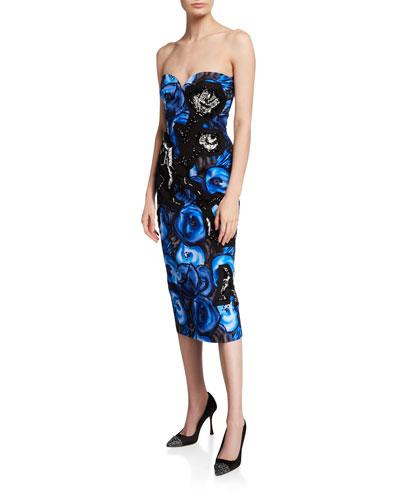 Strapless Poppy-Print Poplin Dress