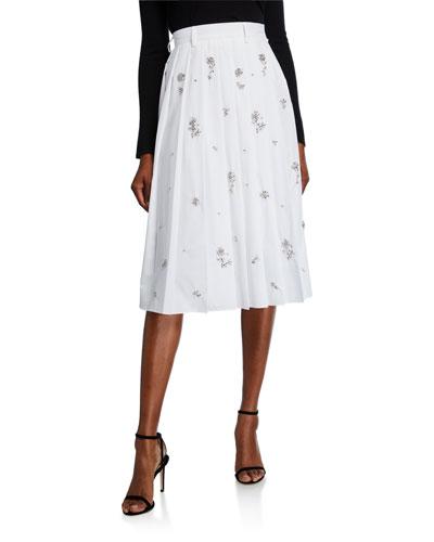 Crystal-Embellished Pleated Poplin Skirt