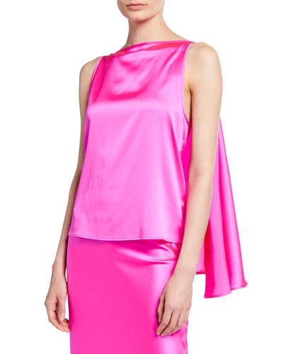 Judy Knot-Front Silk Top  Pink