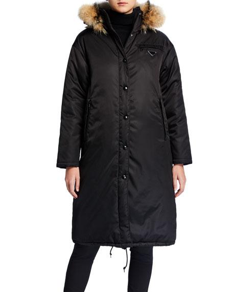 Trapper-Hood Nylon Gabardine Puffer Coat
