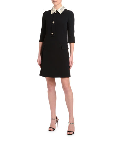 Satin-Embroidered 1/2-Sleeve Cady Dress
