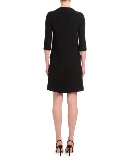 1/2-Sleeve Crepe Boat-Neck Dress