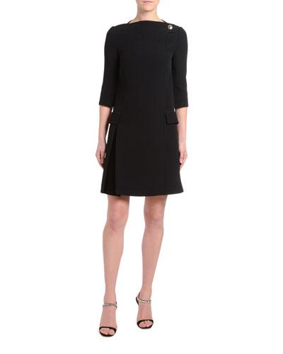 1d50c8aa65 1 2-Sleeve Crepe Boat-Neck Dress Quick Look. Prada