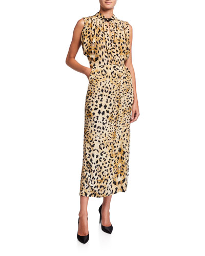 Leopard-Print Sleeveless Twisted Neck Dress