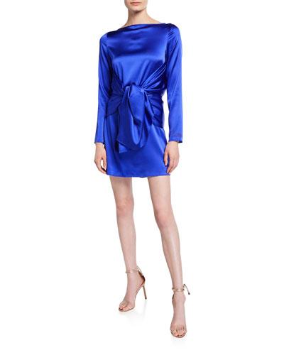 Judy Silk Knot-Front Mini Dress