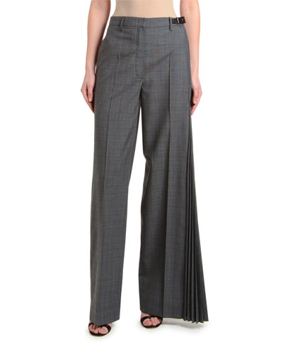 Asymmetric Micro Galle Plaid Pants