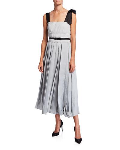 Fluid Twill Crepe Satin-Shoulder Pleated Dress