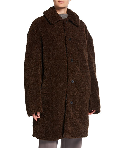 Collared Faux-Fur Long Coat