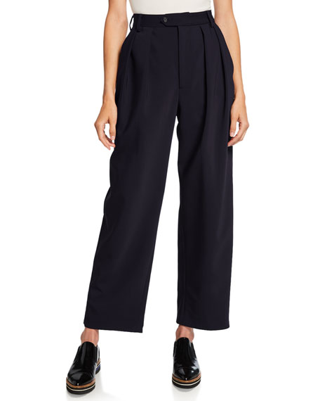 Isabella Pleated Bonded Wool Pants