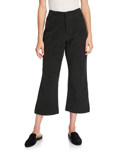 Cropped Flare-Leg Brushed Moleskin Pants