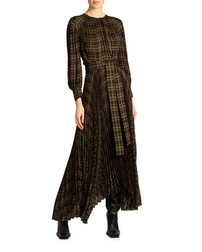 Plaid Jersey Asymmetric Dress