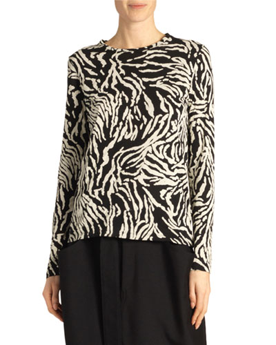 Animal-Print Long-Sleeve Crewneck Top