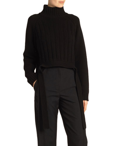 Wool-Cashmere Drape-Hem Turtleneck Sweater  Black