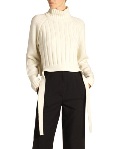 Wool-Cashmere Drape-Hem Turtleneck Sweater  Biege