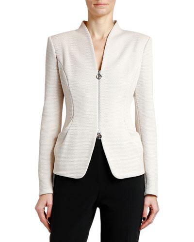 Textured Jersey Zip-Front Jacket