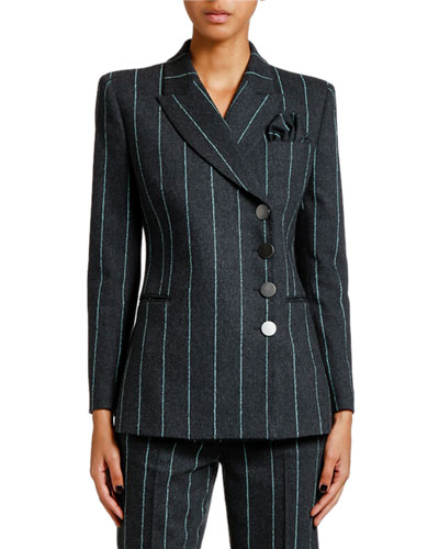 Pinstriped Flannel Double-Breasted Jacket
