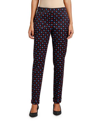Geometric Jacquard Tapered-Leg Pants