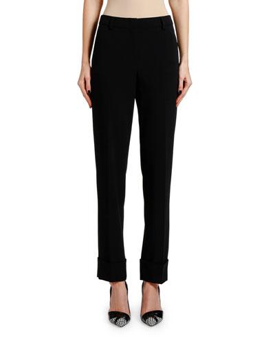 Lightweight Slim-Leg Wool Cuffed Pants