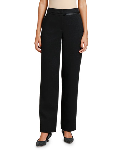 Satin-Piped Shimmer Classic Pants