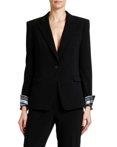 Lightweight Wool Jacket w/ Striped Cuffs